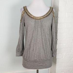 Cache embellished cold shoulder top